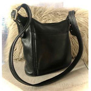 Vintage black leather Coach bucket bag